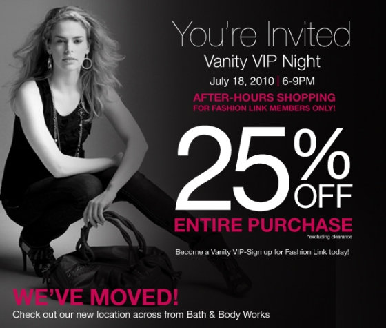 VIP shopping night July 18th Midland, Texas Vanity