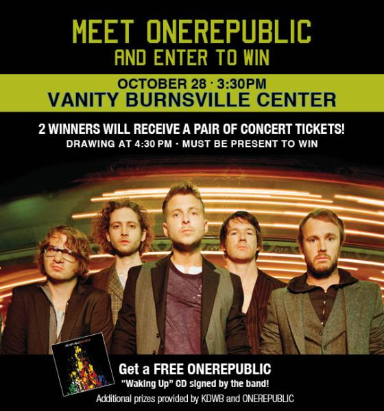 Meet ONEREPUBLIC at Vanity in Burnsville, MN